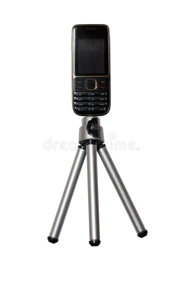Tripod with phone stock image