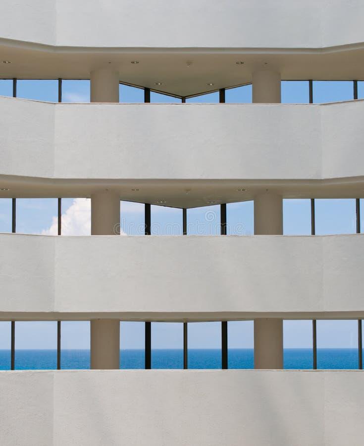 View of tropical ocean through hotel windows stock photos