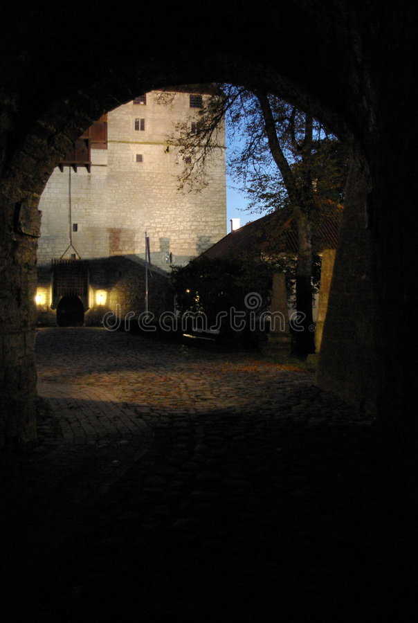 View from tunnel at night royalty free stock photo