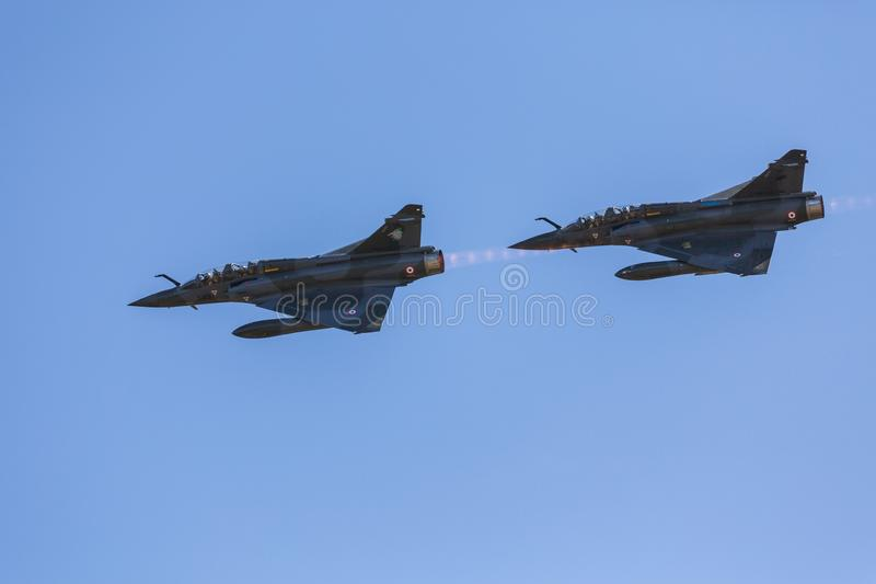 Two French Mirage 2000 patrol royalty free stock images