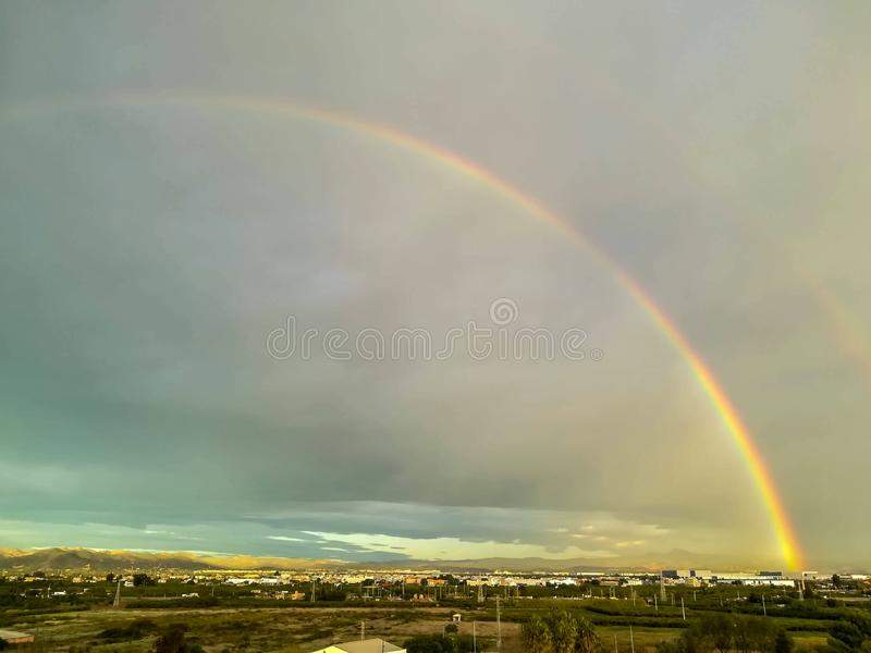 View of two rainbow media stock image
