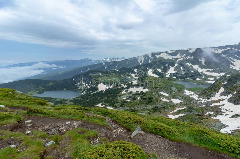 View of two of the Seven Rila Lakes in Bulgaria royalty free stock photos