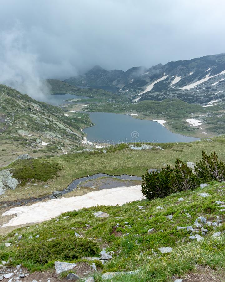View of two of the Seven Rila Lakes in Bulgaria stock photo