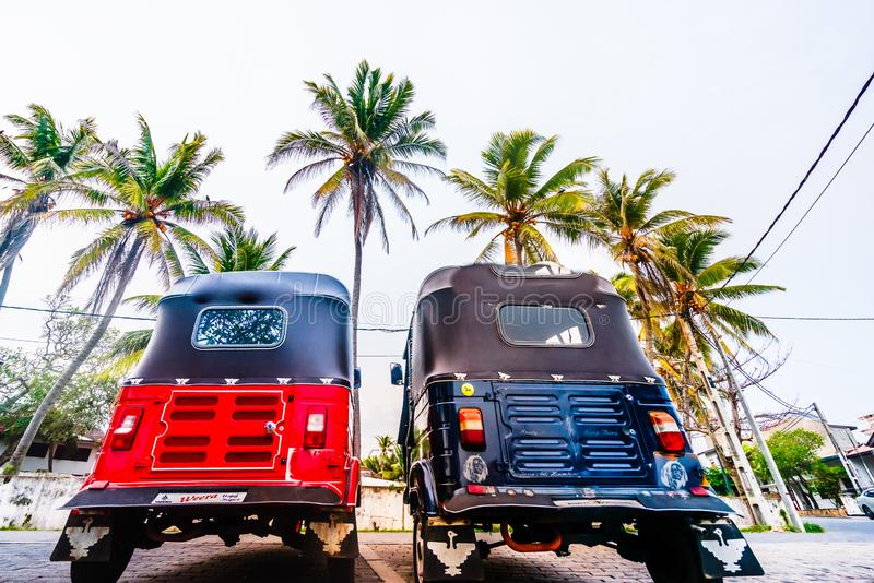 View on two Tuk Tuk taxis in Galle, Sri Lanka royalty free stock photo