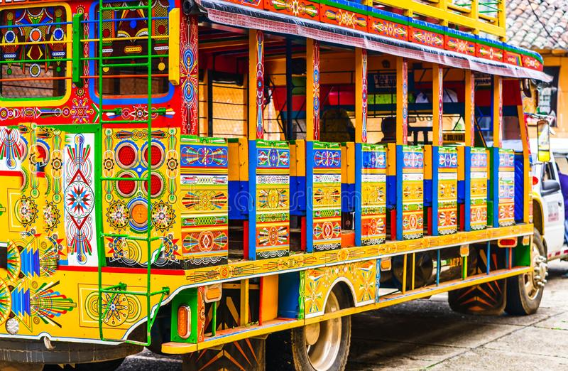 Typical colorful chicken bus near Jerico Antioquia, Colombia, South America stock photo