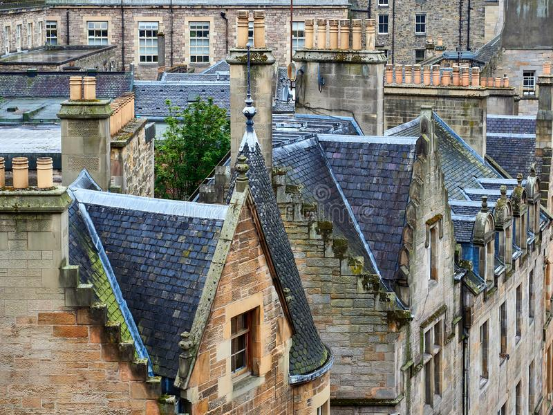 View of typical rooftoops and house stone facades in Edinburgh, Scotland royalty free stock images