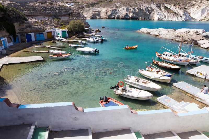 View of The typical little village of Klima in Milos island Greece. It is a traditional fishing village with very few inhabitants stock photo