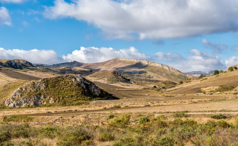 View of typical Sicilian hills in province of Agrigento, Countryside Landscape. stock images