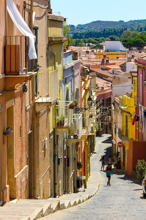 View of a typical street in the village of carloforte stock photography