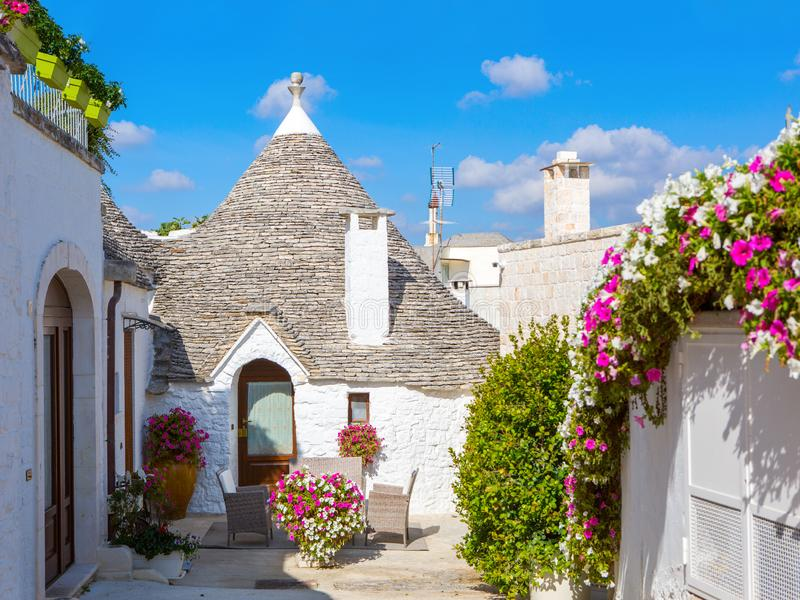View of typical Trulli house in Alberobello, Apulia, Italy royalty free stock photography