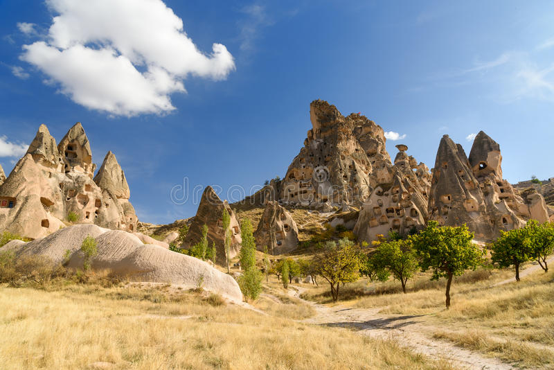 View of Uchisar castle from Pigeon valley. Cappadocia. Turkey. View of Uchisar castle in rock formation from Pigeon valley. Cappadocia. Nevsehir Province. Turkey stock photography