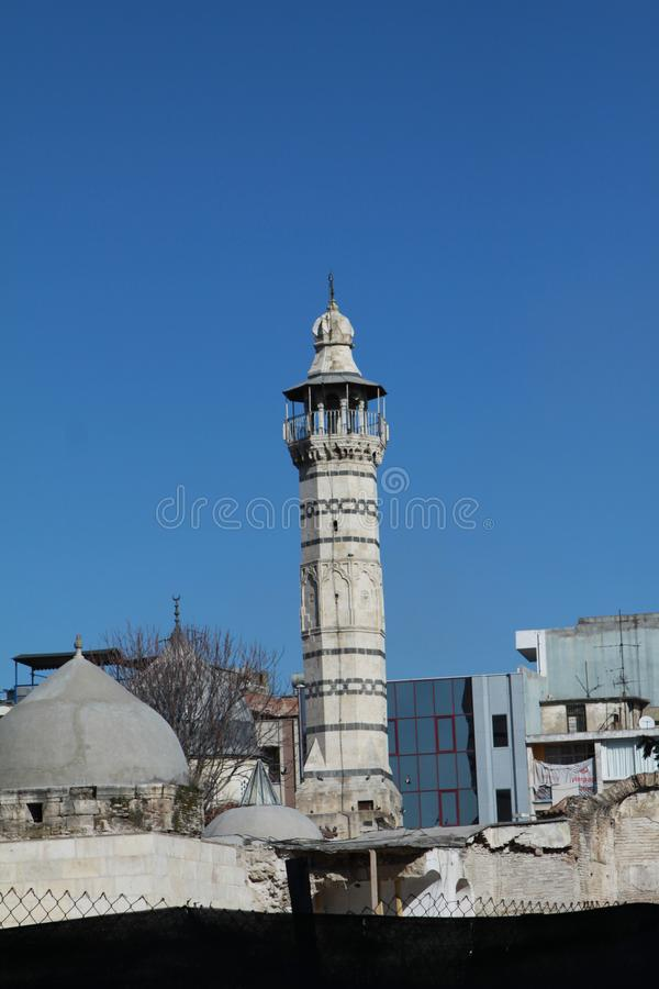 A view of Ulu Mosque, Adana. Adana, Turkey- Built in 1541, Ulu Mosque is one of the historical places of Adana. February 16, 2012 royalty free stock photography