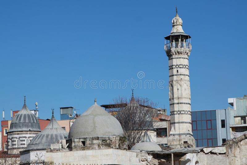 A view of Ulu Mosque, Adana. Adana, Turkey- Built in 1541, Ulu Mosque is one of the historical places of Adana. February 16, 2012 stock photo