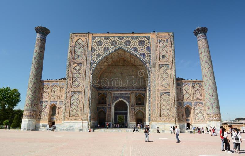 View of Ulugh Beg madrasah. Registan. Samarkand. Uzbekistan stock image