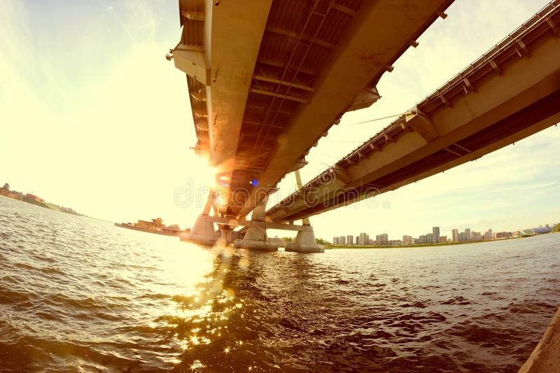 View under the big bridge royalty free stock images