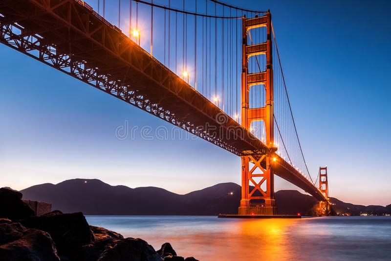 View from under Golden Gate Bridge in San Francisco. At dusk royalty free stock photography