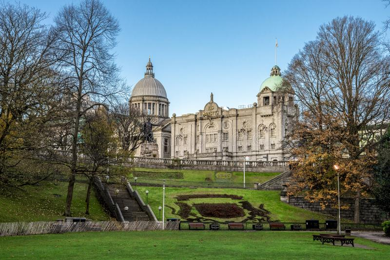 A view from Union Terrace Gardens to His Majesty Theatre and Aberdeen city Coat of Arms, Scotland. November 2017 royalty free stock images