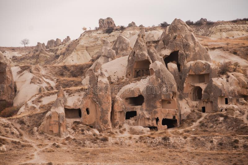 View of the unique volcanic landscape of Cappadocia royalty free stock photo