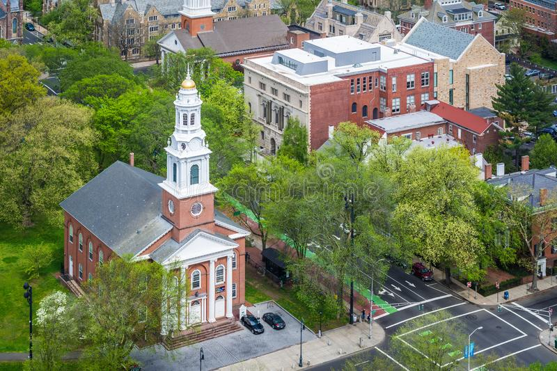 View of the United Church On The Green, in New Haven, Connecticut.  royalty free stock photography