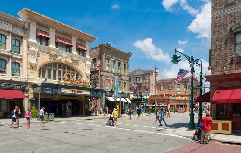 View of Universal Studios Florida theme park. ORLANDO,USA - AUGUST 23, 2014 : Visitors ,rides and restaurants at Universal Studios Florida theme park stock photo