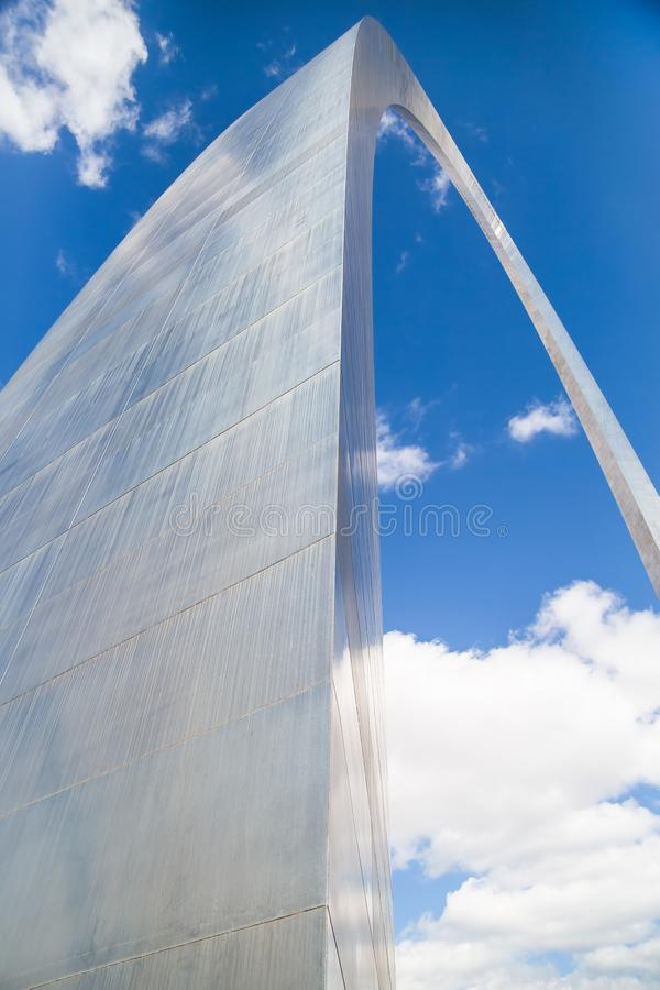 View up Leg of St. Louis Arch. SAINT LOUIS, UNITED STATES - March 19, 2016: View from underneath the St. Louis Arch - a national monument also known as the royalty free stock photos