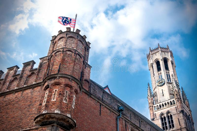 View of the upper part of the famous Brussels Belfry and the walls of the city halls of central market square. Belgium royalty free stock images
