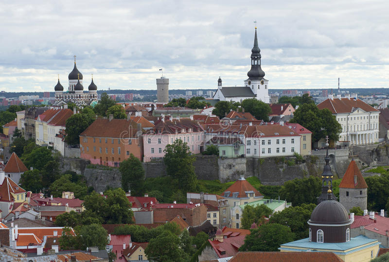 View of the upper town - the historic centre of Tallinn, cloudy summer day stock photos