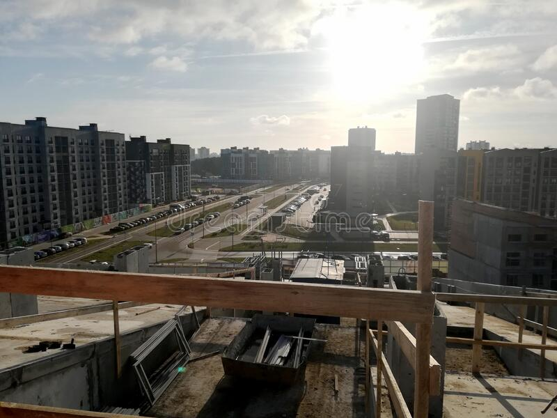 View of urban houses from a house under construction royalty free stock image