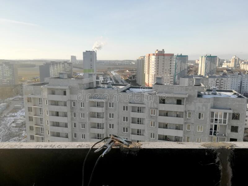 View of urban houses from a house under construction stock photo