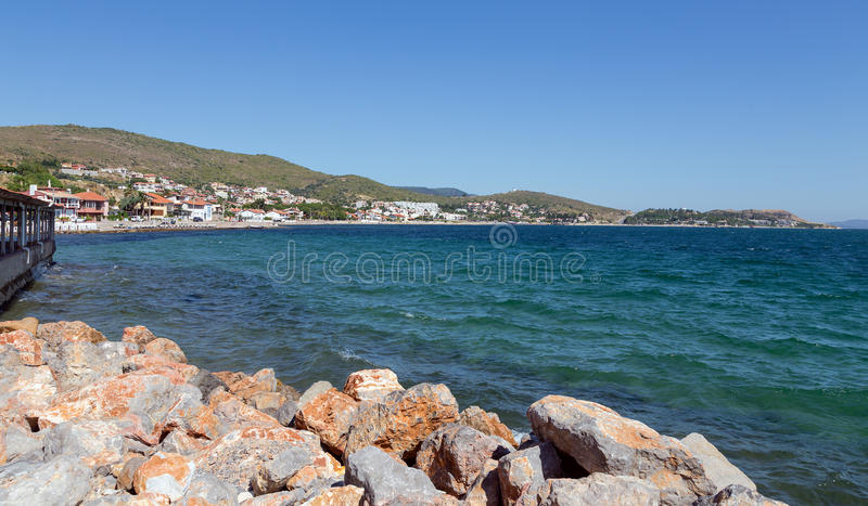 View of Urla coastline, Izmir Province, Turkey. Urla is a town and the center of the district of the same name in Izmir Province, in Turkey. The district center stock photo