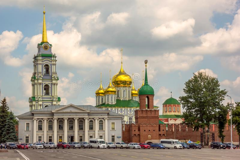 Uspensky Cathedral and the Tower of the Tula Kremlin. View of The Uspensky Cathedral and the Tower of the Tula Kremlin. Russia royalty free stock photography