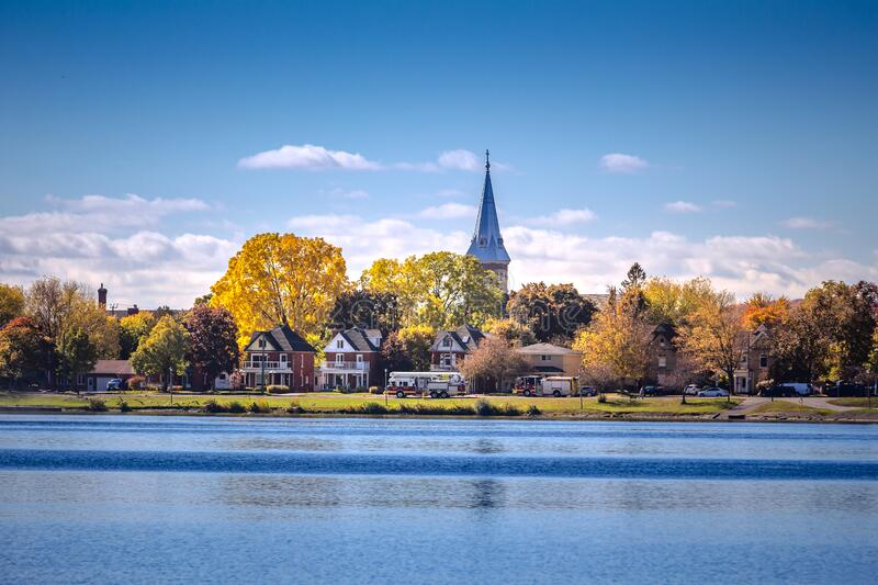 View of the Utonaby River in the small town of Peterborough, Ontario, Canada. Architectural landscape of Utonaby river in Peterborough town, Ontario, Canada in royalty free stock photos