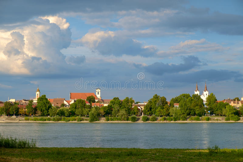 View of Vac city near the river Danube stock images