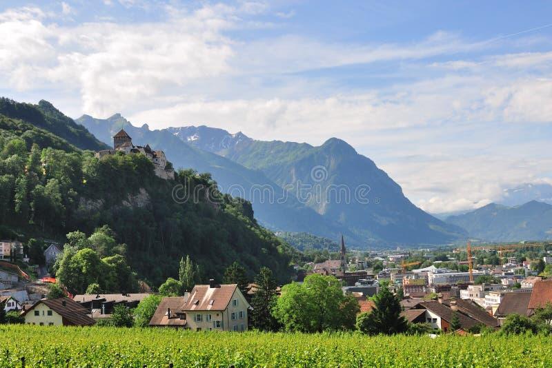 View on Vaduz castle and old town, Lichtenstein stock image