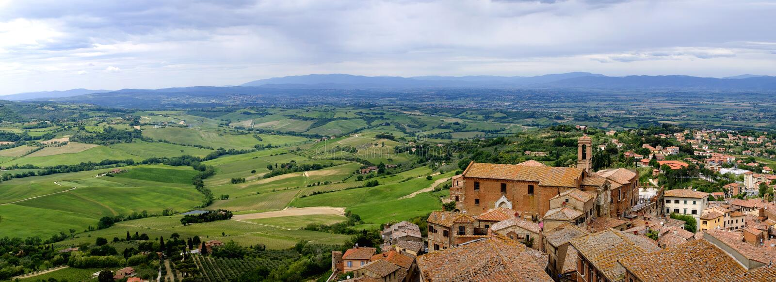 View of Val d'Orcia valley. Montepulciano. View of Val d'Orcia valley from an observation deck in Montepulciano. Tuscany, Italy stock photography