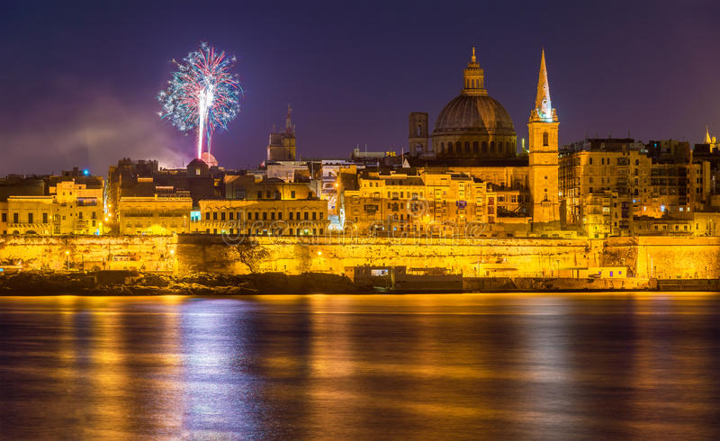 View of Valletta with fireworks on Easter 2015. Malta royalty free stock photography