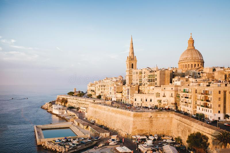 View of Valletta from St Andrew`s Bastions stock photos