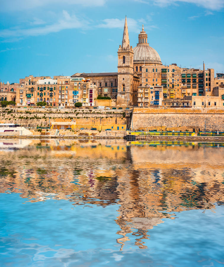 View on Valletta with the St. Pauls Cathedral and Charmelite Chu royalty free stock photos