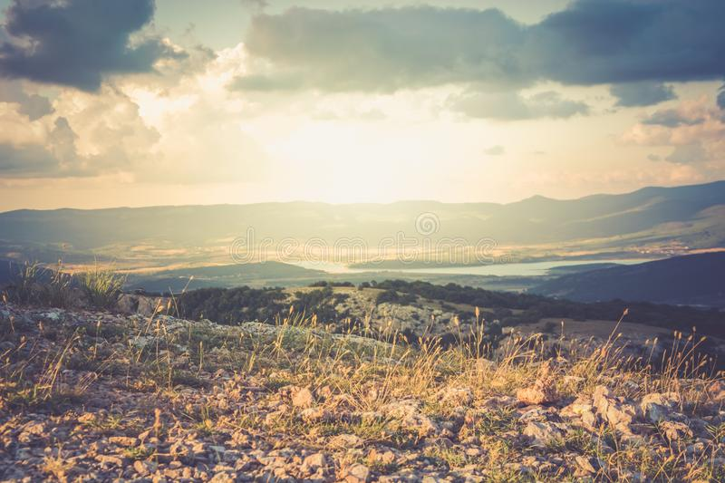 View of the valley Baydarskaya on the southern coast of Crimea. Golden hour. View of the valley Baydarskaya on the southern coast of Crimea. View from the top royalty free stock image