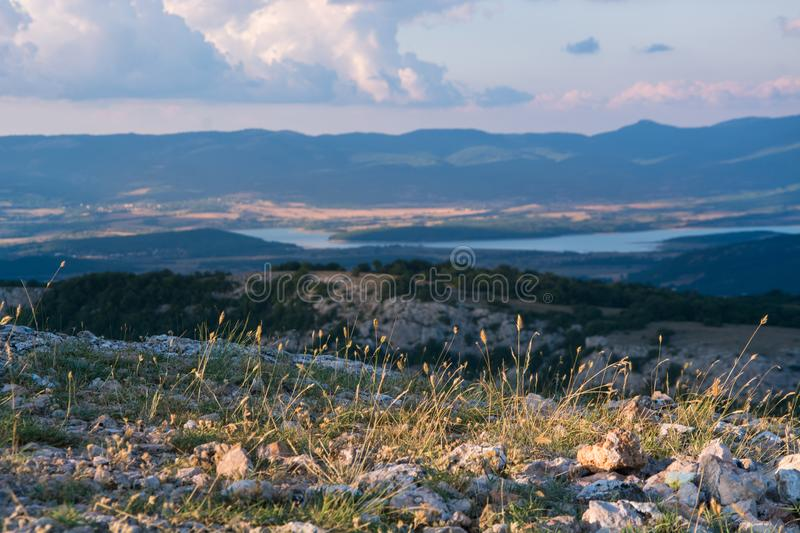 View of the valley Baydarskaya on the southern coast of Crimea. View from the top of the mountain Ilyas Kaya. Summer sunny and clo. Udy day. Enjoyable travel royalty free stock photography