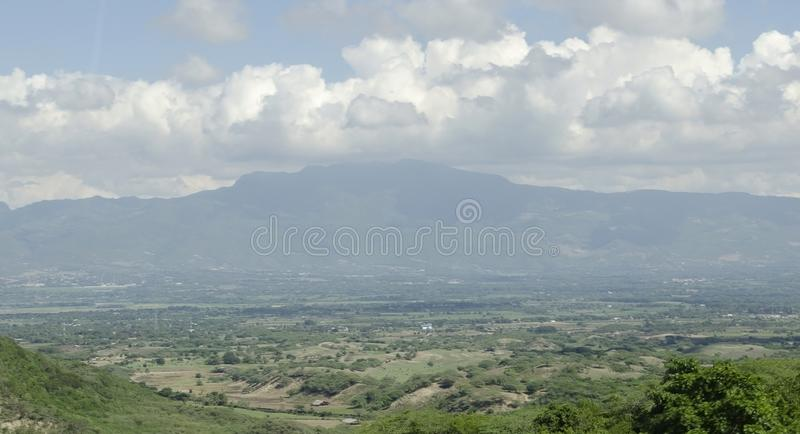 View of the valley of the city of Santiago de los Caballeros. In the Dominican Republic from the mountains that surround this northern town stock photography