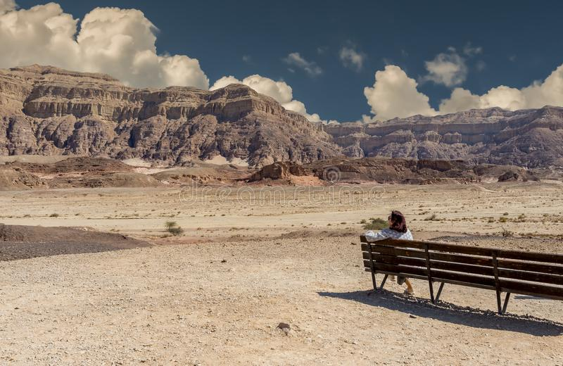 Cloudy day in Timna geological park, Israel stock photos