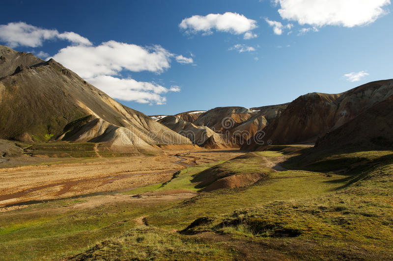 View of a valley in Landmannalaugar on a sunny summer day, Iceland royalty free stock image