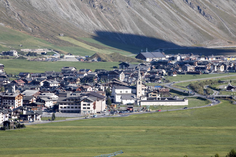 View of the valley, Livigno, Italy. The view of the valley, Livigno, Italy stock images