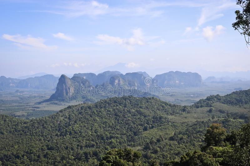 View of the valley and the mountains from the viewpoint, Krabi, Thailand. View of the valley and the unusual mountains from the viewpoint, Krabi, Thailand royalty free stock images