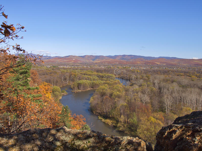 View of the valley river Ussuri stock photography