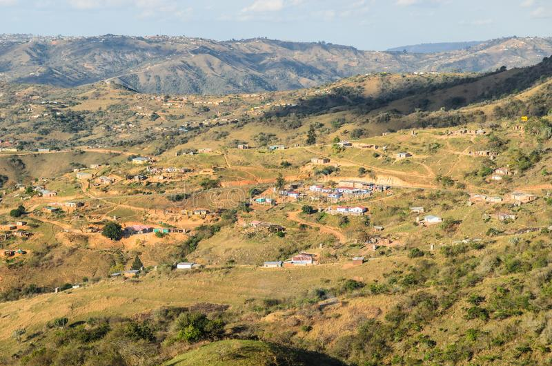 Valley of a Thousand Hills. Rural villages apartheid, African landscape, South Africa. View of the Valley of a Thousand Hills. Rural villages apartheid, African royalty free stock photo