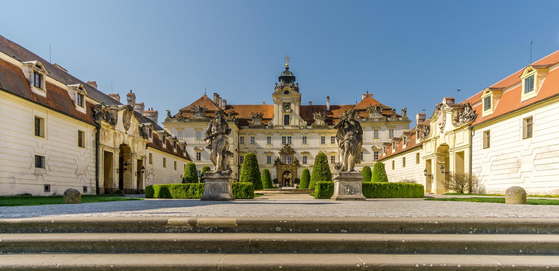 View at the Valtice castle - Czech republic, Moravia stock photo