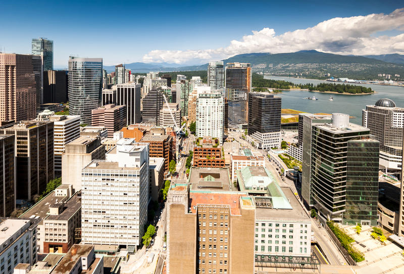 View from Vancouver Lookout Harbour Centre Tower. Panoramic aerial view of downtown Vancouver skyscrapers from the Harbour Centre lookout stock image