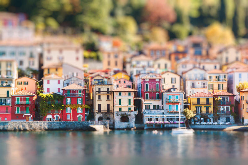 View of Varenna town. Lake and mountains. Como Lake, Italy. Miniature tilt shift lens effect royalty free stock image